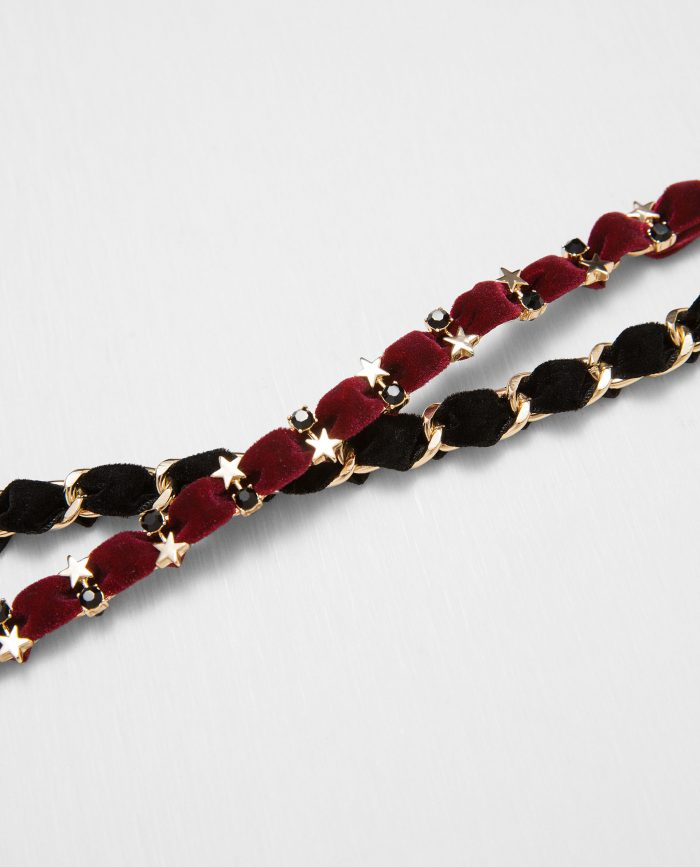 Pack of Velvet Choker and Chain with Gold Details $19.90