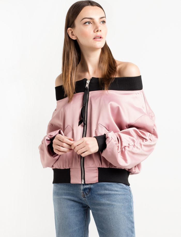 Pink Satin Off The Shoulder Bomber Jacket $64